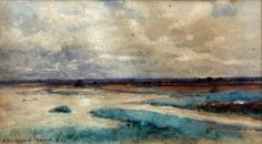 """""""South Beach, Nonquit,"""" Robert Swain Gifford, 1891, watercolor, 7 1/2 X 13"""", private collection."""