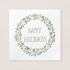 Watercolor Christmas Wreath Napkins