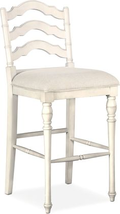 Farmhouse Living. Channel the serenity of a quaint cottage with the Charleston barstool. This piece is expertly crafted to feature rich details, which include a vintage white finish and elegant turned legs. A soft, upholstered seat and chic ladder-back design add exquisite finishing touches, providing you with a well-furnished dining room. Customer assembly required.