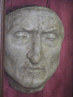 Dante's death mask (copy) Palazzo Vecchio, Firenze.The original mask is located in  Palagio dell'Arte della Lana  at the Dante's Italian Company in Florence.