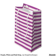 Purple, White and Pink Stripes Small Gift Bag