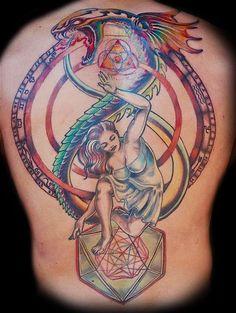 Colorful Ouroboros Tattoo Design On Back