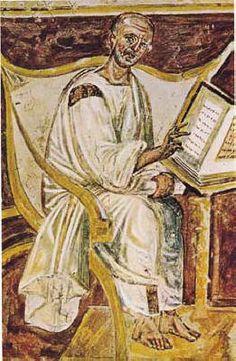 La più antica immagine di sant'Agostino in Laterano : l'affresco risale al 600 circa ed è opera del Maestro del Laterano.