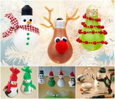 DIY Christmas Bulb Ornaments christmas ornaments christmas crafts christmas decorations christmas crafts for kids christmas tree ornaments chistmas diy