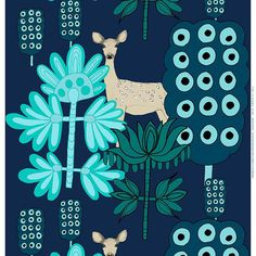 This fresh faced doe was designed by Teresa Moorhouse in 2011. Popping out from a deep blue background, the faint colored fawn is a cute contrast to the blues and greens of its surroundings. Printed on
