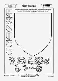 Coat of arms template – Early Years teaching resource – Scholastic is creative inspiration for us. Get more photo about home decor related with by looking at photos gallery at the bottom of this page… Medieval Crafts, Medieval Art, Medieval Decorations, Castle Decorations, Medieval Wedding, Castles Topic, Chateau Moyen Age, Early Years Teaching, Château Fort