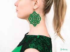 Green Lace Earrings Clover • Large shamrock textile Earring • trefoil symbol • four-leaved ornament • luck • lucky talisman • prosperity by SoLenaRU on Etsy  #Etsy #Green #Lace #Earrings #Clover #shamrock #textile #trefoil #symbol #four-leaved #ornament #lucky #talisman #harmony #wealth #health #attracting #Solena Bridesmaid Earrings, Wedding Earrings, Wedding Jewelry, Lace Wedding, Tatting Earrings, Lace Earrings, Drop Earrings, Green Lace, Wedding Accessories