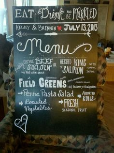 Chalkboard wedding menu!