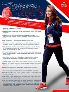 The Duchess of Cambridge's health and beauty tips.