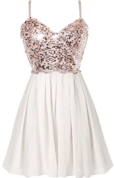 Waking Dream Dress: Features fully adjustable spaghetti straps supporting a stunning sweetheart neckline, sparkling blush pink sequin bodice, wavy rhinestone-embellished waist, and a twirl-worthy white chiffon skirt to finish.