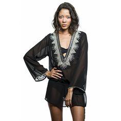 Beach Glam Black And Silver Silk Kaftan