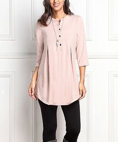 Look what I found on #zulily! Pink Button-Front Notch Neck Tunic #zulilyfinds