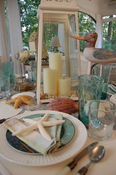 Between Naps on the Porch: Seaside Tablescape: Welcome to the 146th Tablescape Thursday!