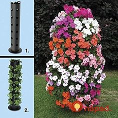 How to Make a Flower Tower.Take See the second way that I made a flower tower, my own method, my mistakes, my learning experiences. Flower Pot Tower, Flower Pots, Tree Planters, Tower Garden, Strawberry Plants, Growing Veggies, Beautiful Fruits, Diy Flowers, Container Gardening