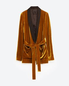 Image 8 of VELVET JACKET WITH BELT from Zara