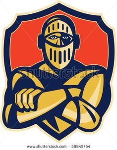 vector illustration of a knight with arms crossed with shield in background - stock vector #knight #retro #illustration