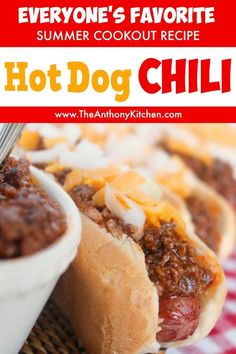 This hot dog chili is the perfect addition to your summer cookout! A quick-fix hot dog sauce recipe featuring ground beef, ketchup and the perfect mix of spices will have your guests raving! A must-have hot dog recipe for this 4th of July! #4thofJulyFood #July4thFood #cookout #potluck #hotdogs #chili #theanthonykitchen