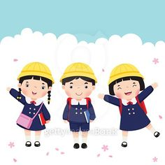 Japanese student in school uniform going to school vector image on VectorStock Cute Animal Drawings, Cute Drawings, Drawing For Kids, Art For Kids, Carnival Crafts, Kids Cartoon Characters, Japanese Kids, Japanese School Uniform, School Clipart