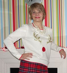 5 Over 50 Challenge: Christmas Jumpers Style Challenge, Fashion Challenge, Ugly Christmas Jumpers, Gold Pleated Skirt, 50 Fashion, Fashion Bloggers, Cream Jumper, Side Stripe Trousers, Winter Jumpers