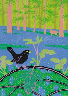 The 84 best spring greeting cards by british artists published by blackbird bramble bluebells by printmaker nick wonham blank art cards by m4hsunfo