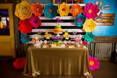 Full dessert table from a Colorful Flamingle Fiesta via Kara's Party Ideas…