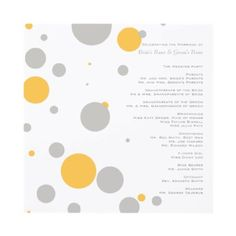 Yellow and Gray Polka Dots Wedding Program Custom Announcement by TheBrideShop