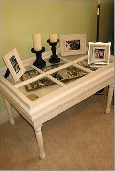 recycled window table.....would be a great idea...then put a bunch of photos inside randomly scattered all around the inside.....hmmmm that'll b one of the first projects of out new home home :) yay