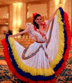 """Costume Couture: National Costumes from the 2015 Miss World """"Dances of the World"""" auditions (Clockwise, top to bottom) Miss Bahamas, Miss. Folklorico Dresses, Venezuelan Women, Colombian Culture, Mexican Costume, Carnival Dress, Culture Day, Mehndi Outfit, Flamenco Skirt, Mexican Shirts"""