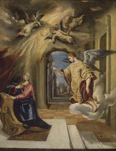Gabriel making the Annunciation to the Virgin Mary. Painting by El Greco, 1575 (Museo del Prado, Madrid). Annunciation, Spanish Artists, Fine Art, Archangel Gabriel, El Greco, Artist, Renaissance Art, Painting, Sacred Art