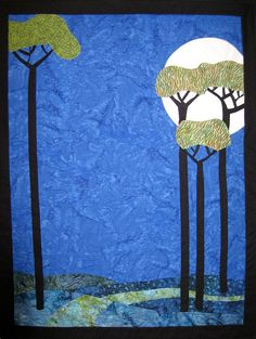 Walk in Moonlight Art Quilt by JaneHicksQuilts on Etsy, $300.00