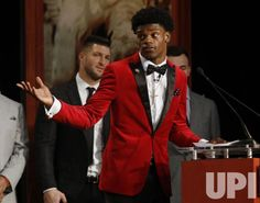 Louisville Cardinals quarterback Lamar Jackson speaks after he wins the Heisman Trophy award in New York City on December 10, 2016. The…