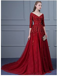 Formal Evening Dress Ball Gown V-neck Sweep / Brush Train Tulle with Appliques / Beading / Sash / Sequins – USD $ 159.99