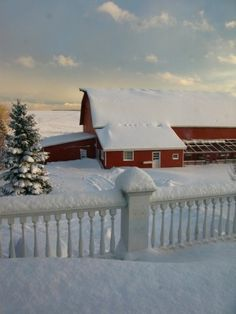 Red barn in winter snow. I Love Winter, Winter Time, Winter Snow, Country Barns, Country Life, Country Living, Snow Scenes, Winter Scenes, Winter Magic