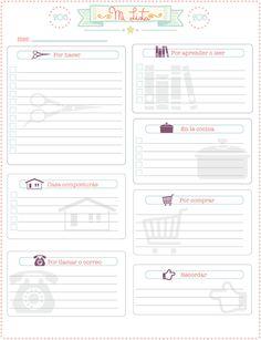 "Gratis imprimible de ""lista de pendientes o notas"", free printable spanish ""to do list"""