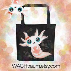 """Tragetasche - Baby Axolotl mit grossen Augen - Grösse ca. 38x38cm (15"""" x 15"""") von WACHtraum auf Etsy Axolotl, Print On Demand, Salamander, Walking, Drop, Big Eyes, Clipart, Cute Babies, Panda"""