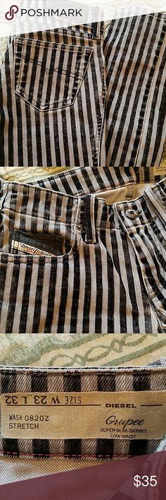 DIESEL GRUPEE striped skinny 23x32 jeans DIESEL GRUPEE striped super-slim skinny 23x32 jeans stretch low waist Diesel Jeans Skinny