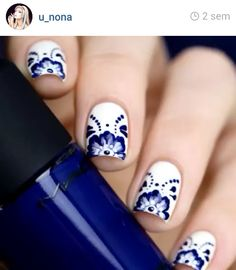 LOVE THESE DEEP BLUE AND WHITE FLORAL NAILS!!!                              …