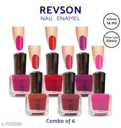 Nails  Premium Glossy Nail Polish(Pack of 6)  *Product Name* Revson Nail Polish  *Product  Type* Nail Polish  *Brand Name* Revson  *Capacity* 14 ml  *Shade* Multicolour  *Finish Type* Glossy  *Applicator * Brush  *Package Contains* It Has 6 Pack of Nail Polish  *Sizes Available* Free Size *   Catalog Rating: ★4 (6058)  Catalog Name: Nail Polish Revson Premium Glossy Nail Polish Combo Vol 1 CatalogID_125966 C51-SC1244 Code: 631-1039098-