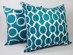 15% OFF SALE Teal Throw Pillow Cover by CastawayCoveDecor on Etsy