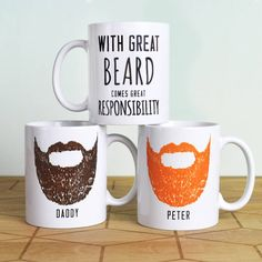 Express your appreciation for someone's beard by giving them this unique personalised mug.Choose from 6 different colours.'With great beard comes great responsibility' ceramic mug. This makes an ideal gift for the bearded gentleman. Simply pick a colour and provide us with the relevant name, and we do the rest. Your mug will be delivered with its own presentation box which can be seen in the forth image. We bubble wrap the boxed mug and place it in a slightly larger cardboard box to ensure that you receive it in perfect condition.Designed and printed in England. The mug is ceramic and dishwasher safe.10oz mug, standard mug size. W11.5 x H9.3 x D8.2cm