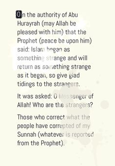 Glad tidings to Strangers... #Islam #Hadith #Strangers #Muslims