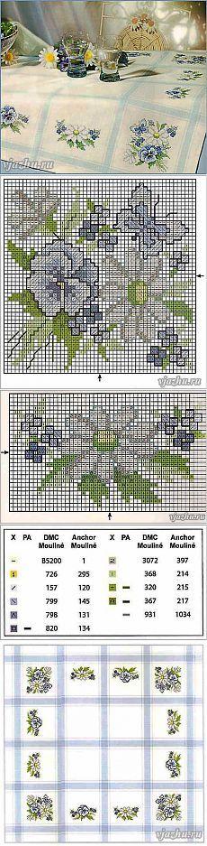 Схемы цветов для вышивки крестом для скатерти.