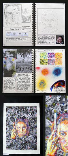 Top in the World: Stunning Self-Portraits by an A Level Art Student This sequence of work shows two A Level sketchbook pages leading towards a vertical prep sheet (enlarged detail shown to the right). Note the inclusion of innovative painting techniques Gcse Art Sketchbook, A Level Art Sketchbook Layout, Textiles Sketchbook, Sketchbook Inspiration, Sketchbook Ideas, Sketchbook Project, Ap Studio Art, Art Diary, Identity Art