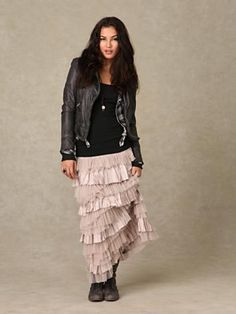 jacket with a ruffled maxi skirt. Boho Dress, Dress Skirt, Ruffle Skirt, Ruffles, Free Clothes, Clothes For Women, Cool Outfits, Fashion Outfits, Style Fashion