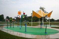 Flodin Water Park, Canton, Michigan.  An outdoor water feature as part of Canton Leisure Services.