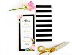 Wedding menu floral menu black and white stripe by DAYDREAMPRINTS, $125.00 - yeah yeah i love stripes...