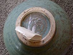Karen Cohen Studio Pottery Ceramics Footed Bowl, marked KC