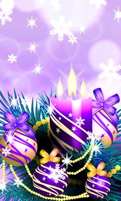 Download 480x800 «Christmas Balls and Candles Purple» Cell Phone Wallpaper. Category: Holidays
