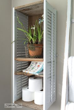 Reclaimed wood and shutters shelf with Old Sign Stencils  / on funkyjunkinteriors.net