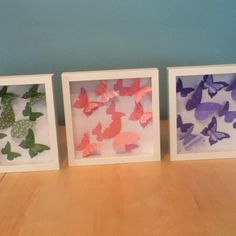 Homemade butterfly shadow boxes. Ikea frames, sizzix big shot dye, and stampin up paper.